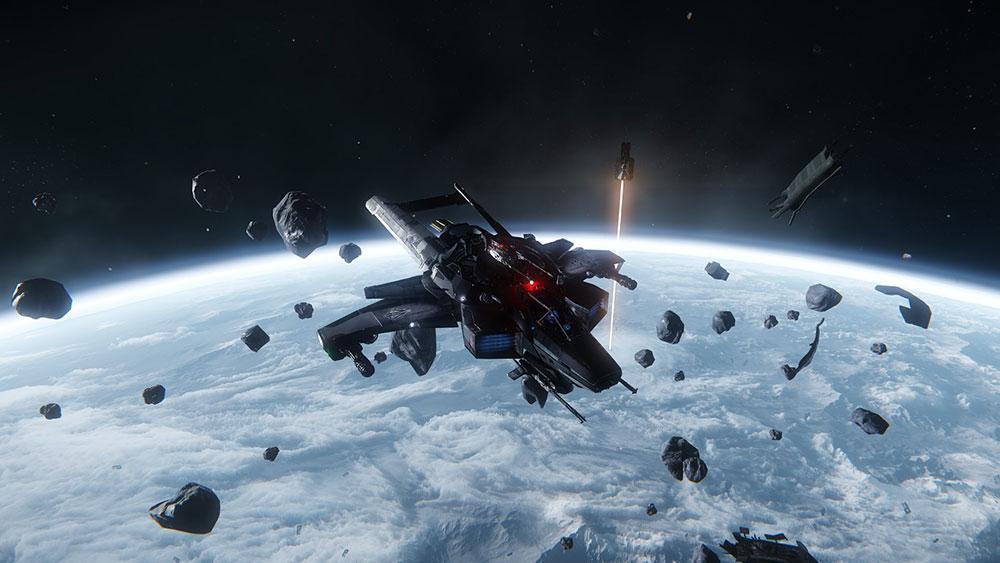 летающий в космосе