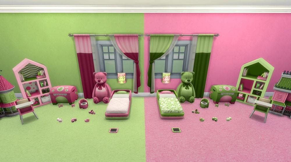 цвет комната и мишки